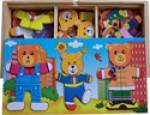 Пазл - Одень семью медведей
