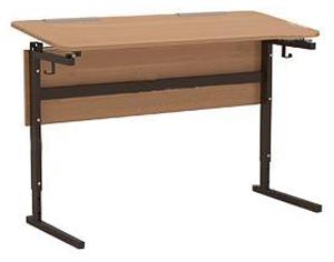 Стол ученический 2-местный  регулир. высота и наклон столешницы 0 или 10° группа 2-4 и группа  4-6