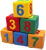 Кубики цифры (6 шт.)